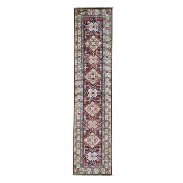 Kazak Chocolate Brown Wool Hand-knotted Runner Rug (2'4 x 10'5)
