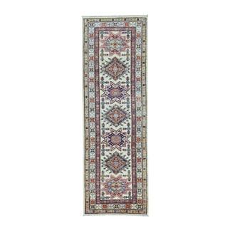 Super Kazak Ivory Pure Wool Hand-knotted Runner Rug (2'6 x 7'7)
