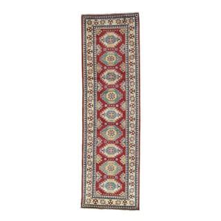 Wool Hand-knotted Geometric Kazak Runner Rug (2'9 x 9'3)