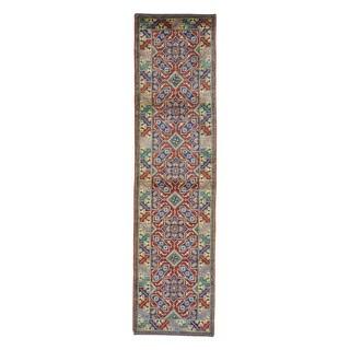 Tribal Design Kazak Red Hand-knotted Runner Rug (2'9 x 10'8)