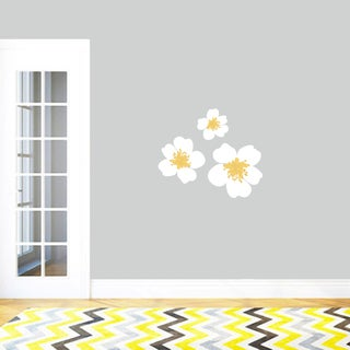 White and Yellow Flowers Printed Vinyl Wall Decals (Set of 3)