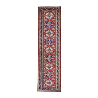 Runner Super Kazak Red Pure Wool Hand-knotted Rug (3' x 10')