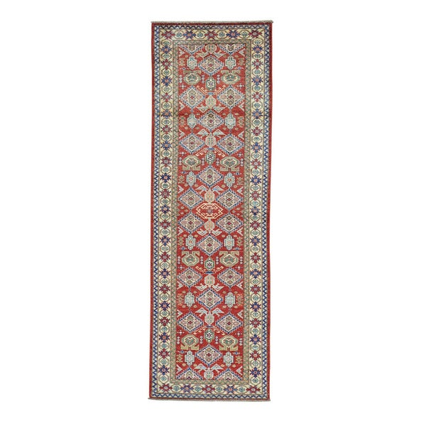Super Kazak Red Pure Wool Hand-knotted Runner Rug (2'10 x 9')