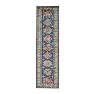 Super Kazak Denim Blue Hand-knotted Runner Rug (2'8 x 9'9)