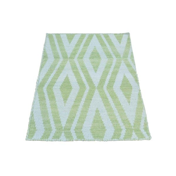 Light Green/Ivory Wool Hand Wovenl Reversible Kilim Rug