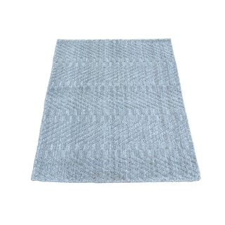 Grey Wool and Viscose from Bamboo Hand-loomed Rug (2' x 3')