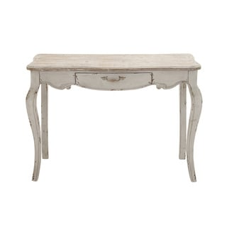 Distressed White Wood Console Table