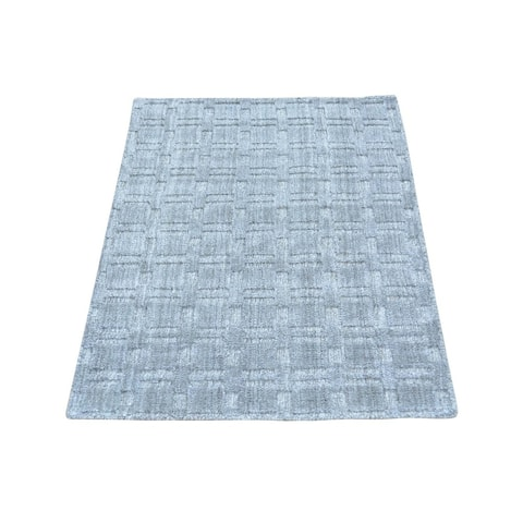 Grey Tone-on-tone Hand-loomed Wool and Viscose from Bamboo Silk Rug (2' x 3')