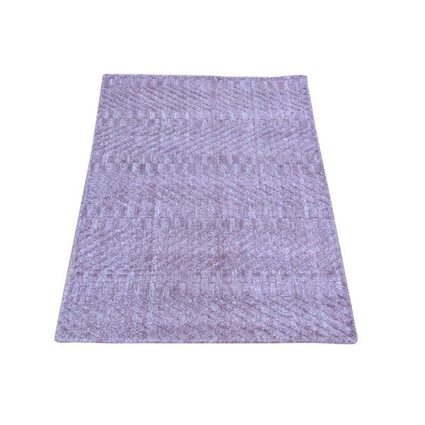 Purple Tone-on-tone Wool and Viscose from Bamboo Silk Hand-loomed Rug (2' x 3')