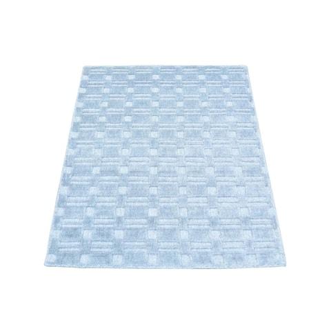Tone on Tone Grey/Ivory Wool/Viscose from Bamboo Silk Hand-loomed Rug (2' x 3')