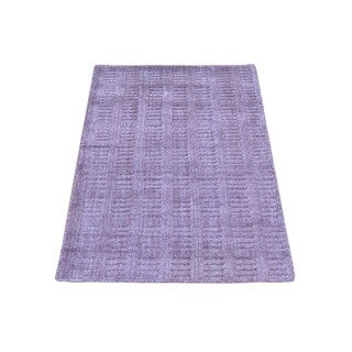 Purple/Ivory Wool and Viscose from Bamboo Silk Hand-loomed Rug