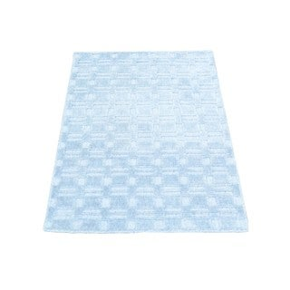 Tone-on-tone Sky Blue Hand-loomed Wool and Viscose from Bamboo Silk Rug (2' x 3')
