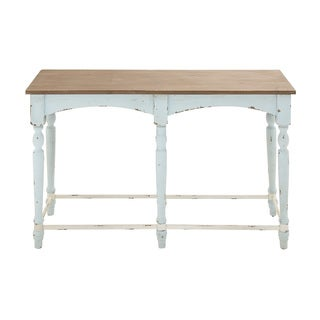 Antique-style White/Natural-finish Wood Console Table