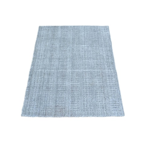 Grey/Ivory Wool and Viscose from Bamboo Silk Tone on Tone Hand Loomed Rug (0.5-inch x 24-inch x 36-inch)