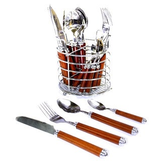 Nature Home Decor Rainbow Elite Collection Wood-design Handled Stainless Steel Flatware Set