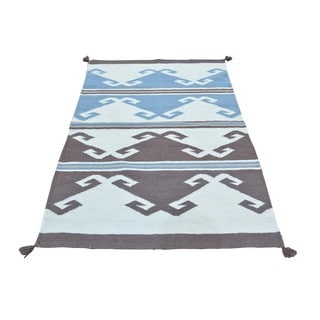 Design Ivory/Blue/Brown/Beige Wool Hand-woven Reversible Flatweave Rug (3'1 x 5'1)