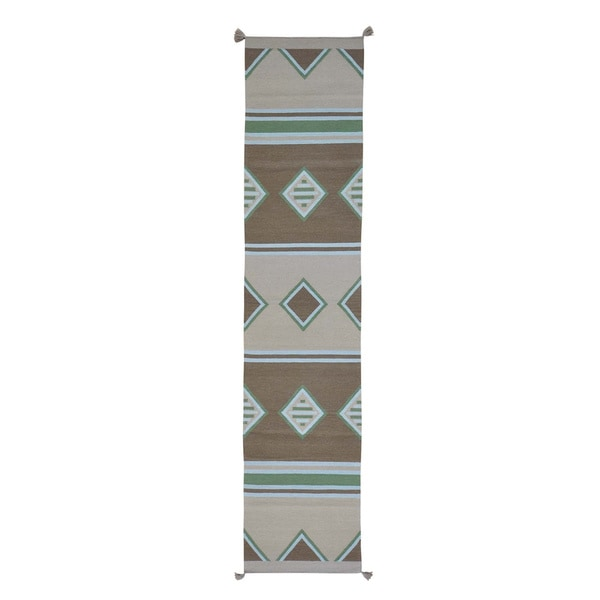 Southwest Handwoven Flat Weave Pure Wool Runner Rug (2'7 x 12')