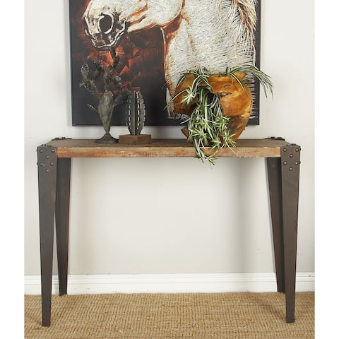 Industrial 30 Inch Rectangular Wooden Console Table by Studio 350