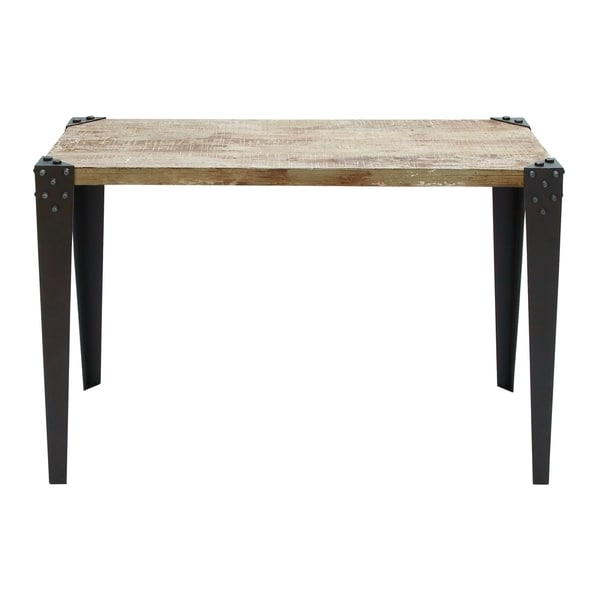 Brown metal and wood 42 inch x 30 inch console table for Metal and wood console tables