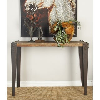 Brown Metal and Wood 42-inch x 30-inch Console Table