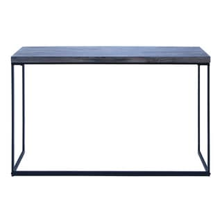 Grey Solid Metal With Wood Top Console Table