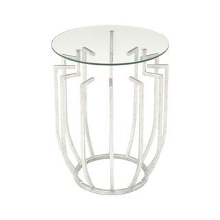 Silvertone Metal and Clear Glass Side Table