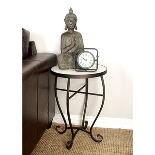 White/Brown Metal Round Side Table