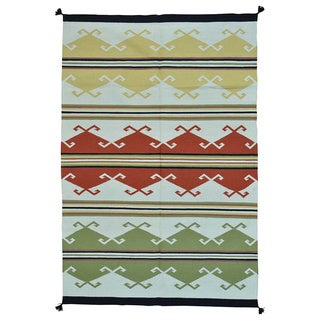 Southwest Design Pure Wool Handwoven Flat Weave Rug (73 inches x 108 inches)