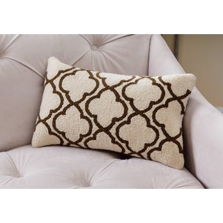 Abbyson Clyde White/Brown New Zealand Wool Polyester-filled Throw Pillow