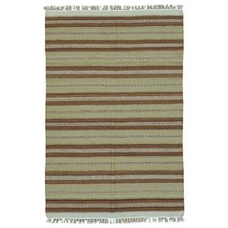 Pure Wool Handmade Flatweave Dhurrie Kilim Reversible Rug (3'10 x 5'10)
