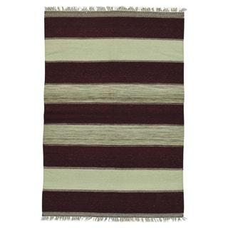 Handwoven Flatweave Striped Kilim Wool Rug (4' x 6')