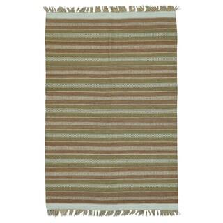 Wool Striped Flat-weave Hand-woven Dhurie Kilim Rug (4' x 6')