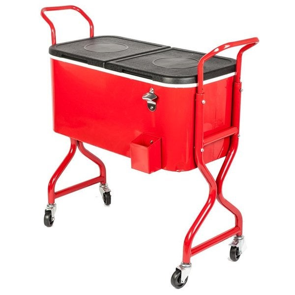 HIO 80-quart Outdoor Red Rolling Patio Cooler Table On Wheels