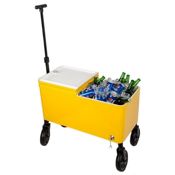 HIO Yellow Plastic 60 Quart Outdoor Patio Cooler Cart