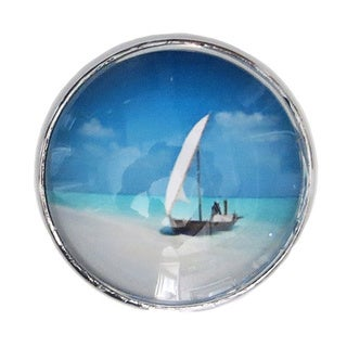 Boat at Sea Chrome Finish Glass Drawer/ Door/ Cabinet Pull Knob (Pack of 6)