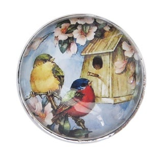Birds Glass Dome Drawer/ Door/ Cabinet Pull Knob (Pack of 6)