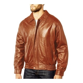 Tanners Avenue Men's Cognac Leather Fully Lined Zipper-front Bomber Jacket
