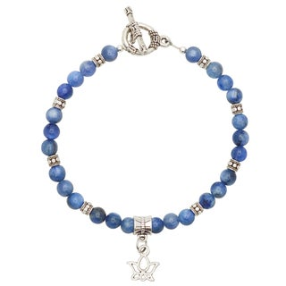 Healing Stones for You Blue Kyanite Bracelet with Lotus Charm