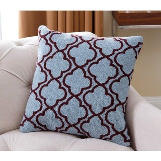 Abbyson Mia Lattice Blue New Zealand Wool 20-inch x 20-inch Polyester-filled Throw Pillow