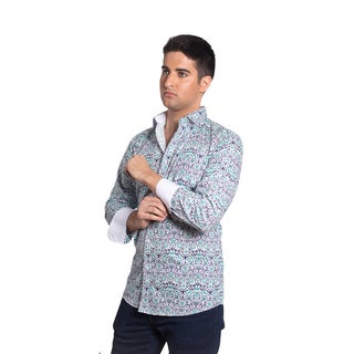 Elie Balleh Men's Milano Italy Blue and Green Cotton Damask Slim-fit Shirt