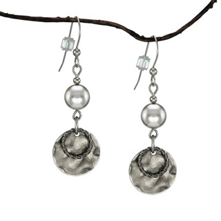 Handmade Jewelry by Dawn Silver Crystal Pearl and Hammered Pewter Drop Earrings