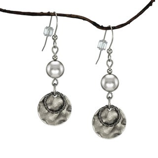 Handmade Jewelry by Dawn Silver Crystal Pearl and Hammered Pewter Drop Earrings (USA)