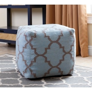 ABBYSON LIVING Natalie Blue Lattice New Zealand Wool 18-inch Square Handmade Pouf