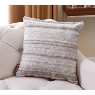 ABBYSON LIVING Grey and Ivory Wool 20-inch x 20-inch Striped Throw Pillow