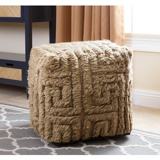 ABBYSON LIVING Handmade Maven Geometric Grey 18-inch Square New Zealand Wool Pouf