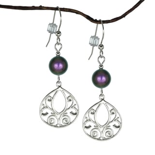 Jewelry by Dawn Iridescent Purple Fancy Filigree Teardrop Sterling Silver Earrings