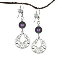 Handmade Jewelry by Dawn Iridescent Purple Fancy Filigree Teardrop Sterling Silver Earrings (USA)
