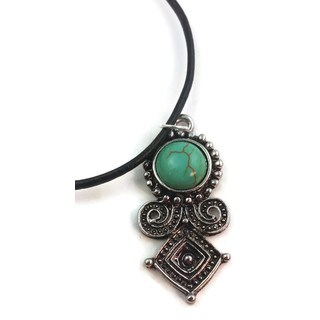 Mama Designs Silvertone and Faux Turquoise Handmade Necklace