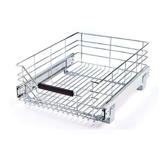 Seville Classics Chrome Stainless Steel Wire Sliding Storage Drawer