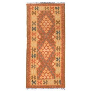 Herat Oriental Afghan Hand-woven Wool Mimana Kilim Runner (2'9 x 5'11)